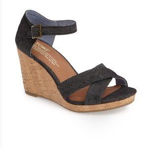 TOMS Sienna Black Denim Wedge Platform Sandals